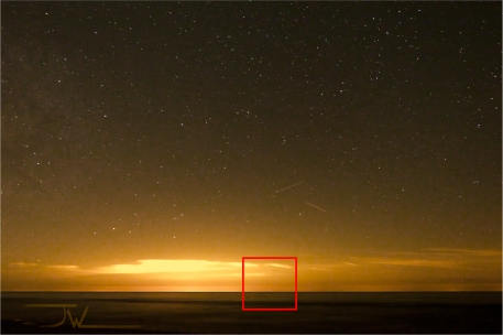 Orange Orb on the horizon.