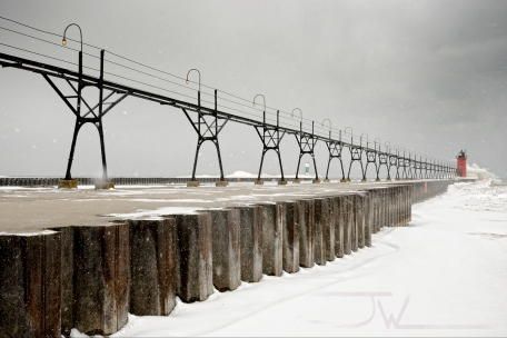A snowy day at Lake Michigan.