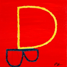 Yellow D Blue B in Crayon
